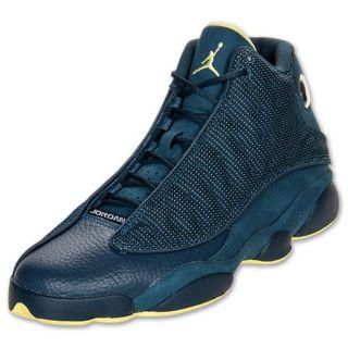 Men's Air Jordan Retro 13 Basketball Shoes Squadron Blue/Electric Yellow/Black