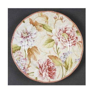 "222 Fifth ""Jennifer"" Floral Appetizer / Bread Plates, Set of 4: Kitchen & Dining"