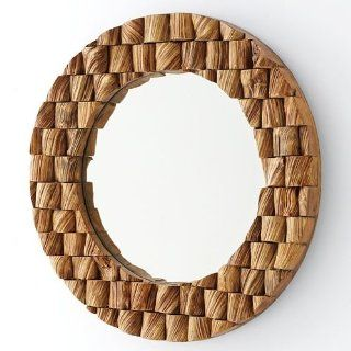 222 Fifth Decor Round Liliana Wood Mirror   Wall Mounted Mirrors