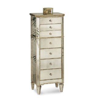 "Borghese 20"" x 50"" Mirrored Linen Tower   Storage Chests"