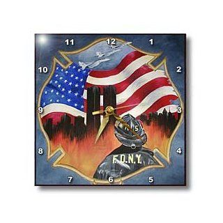 3dRose dpp_44368_1 FDNY 9/11 Tribute of Firefighter with Flag and Twin Towers Wall Clock, 10 by 10 Inch