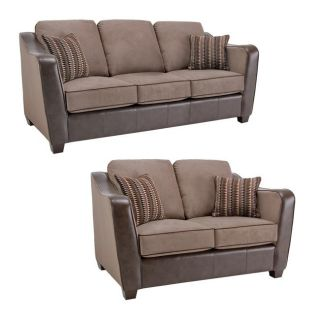 Jaden Chocolate/ Taupe Faux Leather/ Fabric Sofa and Loveseat Sofas & Loveseats