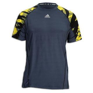 adidas Techfit Fitted Camo S/S Top   Mens   Training   Clothing   Black/Vivid Yellow/Dark Onyx/Lead