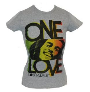 """Bob Marley Girls T Shirt   Portrait Sandwiched Between """"One"""" and """"Love"""" Clothing"""