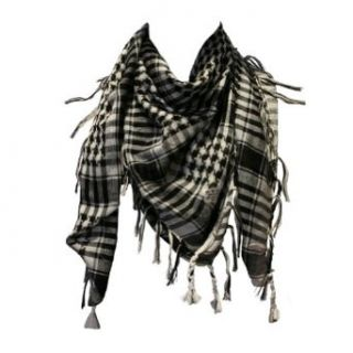 Arab Shemagh Kafiya Square Scarf, White & Black: Clothing