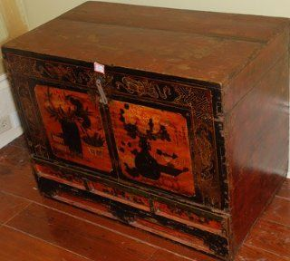 SRC301 Antique Painted Trunk, circa 1875, Shanxi Province China, Northern Elm (Yumu), Oriental Antiq