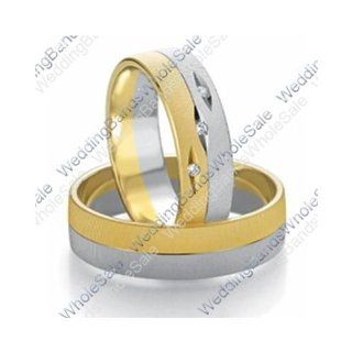 14k White & Yellow Gold 7mm Flat 0.03ct His & Hers Wedding Rings Set 241: Wedding Bands Wholesale: Jewelry