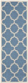 Safavieh CY6243 243 Courtyard Collection Indoor/Outdoor Area Runner, 2 Feet 3 Inch by 7 Feet 6 Inch, Blue and Beige   Runner Rugs