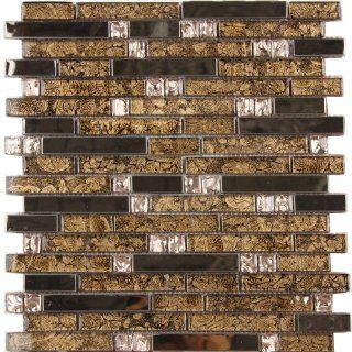 Mosaic Glass Decorative Tile With Metal Covering   15 Pieces   Mosaic Glass Tile Backsplash