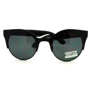 Women's Euro Fashion Vogue Circle Lens Half Rim Sunglasses   Black: Clothing