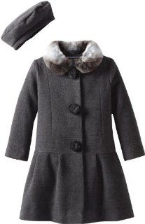 Rothschild Little Girls Wool Dress Coat with Matching Beret 4 6X: Clothing
