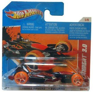 JET THREAT (black and orange) * 2010 2011 Hot Wheels #203/244 Thrill Racers   Volcano 5/6 1:64 scale car on SHORT CARD: Everything Else