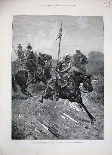1888 War Soldiers Prussian Uhlans Cossacks Ural Horses   Prints
