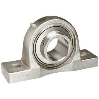 "Hub City PB251STWX1 3/4 Pillow Block Mounted Bearing, Normal Duty, High Shaft Height, Relube, Setscrew Locking Collar, Wide Inner Race, Stainless Housing, Stainless Insert, 1 3/4"" Bore, 2.25"" Length Through Bore, 2.125"" Base To Height: Indus"
