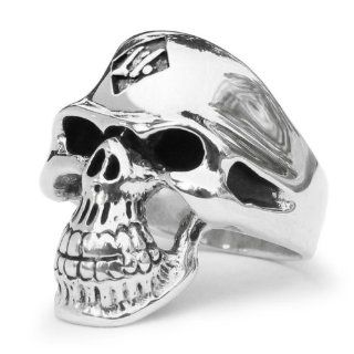 1% 1er Outlaw Biker Skull Ring in Sterling Silver 1 Percent: Jewelry