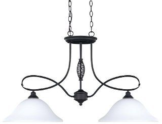 CANARM LTD IPL253A02ORB Twenty One 2 Light Pendant/Island Flat Opal Glass 100W Type A Oil Rubbed Bronze Finish   Chandeliers
