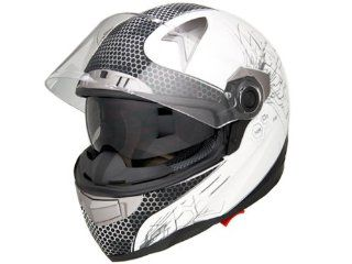 DOT Approved Motorcycle Helmet Full Face Chemical Reaction + Dual Smoke Visor EVOS Sport Street Bike Cruiser Scooter Snowmobile ATV Helmet   X Large: Automotive