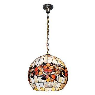 80W Vintage Tiffany Pendant Light with Colorful Shell Material Integrated Globe Shade