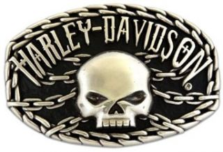 Harley Davidson Mens Collector Belt Buckle Skull Chain Motorcycle. M10074: Clothing
