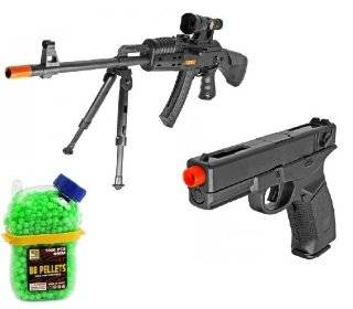 (COMBO) King P207 AK 47 Spring Airsoft Gun Folding Bi Pod FPS 275 + Electric Airsoft Pistol Full Auto Head Chief FPS 180 AEP + 1000 Holster Container of BB's  Airsoft Rifles  Sports & Outdoors