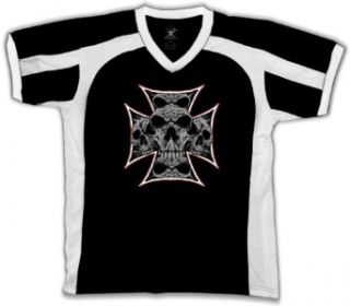 Iron Cross Filled With Skulls Mens Sport T shirt, Dark Fantasy Chopper Tattoo Design Mens V Neck Tee Shirt Clothing