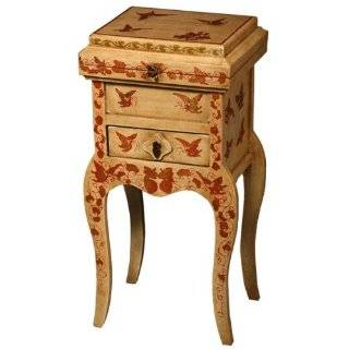 """EXP Handmade 31"""" Antique Style Red & White Wood Accent / End Table With Red & Gold Butterflies"""