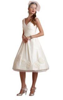 Biggoldapple A Line V neck Tea Length Wedding Dress 297: Clothing