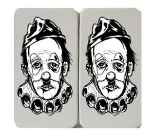 Classic Black & White Sad Clown Face   White Taiga Hinge Wallet Clutch: Clothing