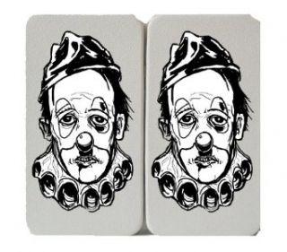 Classic Black & White Sad Clown Face   White Taiga Hinge Wallet Clutch: Clothing