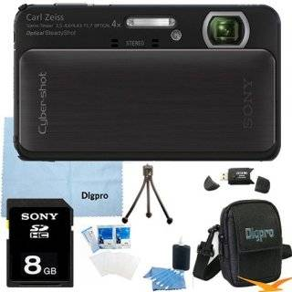 Sony Cyber shot DSC TX20 16.2 MP Exmor R CMOS Digital Camera with 4x Optical Zoom and 3.0 inch LCD (Black) BUNDLE with Sony 8GB Card, Card Reader, Case, Mini Tripod, LCD Screen Protectors, Lens Cleaning Kit, Microfiber Cleaning Cloth Camera & Photo
