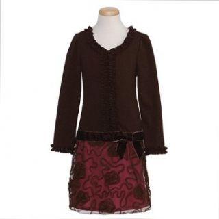 Bonnie Jean Girls 7 16 Brown Ponte Bonaz Ruffle Dress (12, Brown) Clothing