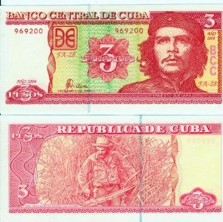 Cuba Bank Note 3 Pesos with Portrait of Che Guevara P123 Uncirculated : Collectible Coins : Everything Else