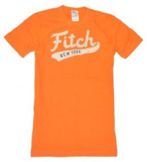 Abercrombie & Fitch Men Muscle Fit Logo T Shirt (M, Orange) Clothing