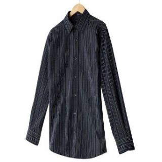 axcess Men's Striped Modern Fit Casual Button Front Shirt, Black/Navy Stripe (XLarge) Clothing