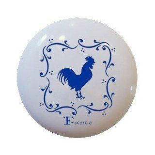 French Rooster Blue Ceramic Knobs Pulls Kitchen Drawer Cabinet Vanity 346   Cabinet And Furniture Knobs