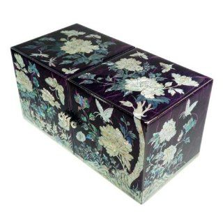 Women's small purple wood jewelry box with 4 storage drawers covered with mother of pearl. handcrafted. Masterpiece.   Decorative Boxes