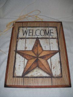 Country Barn Star Welcome Sign Wooden Wall Decor   Decorative Plaques