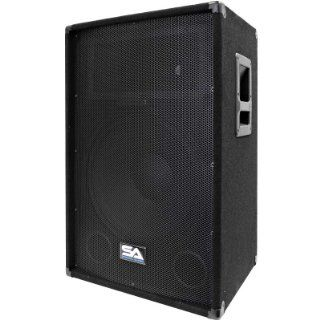Seismic Audio SA 15T PW 350W Active Powered 2 Way 15 Inch PA/DJ Speaker Cabinet with Titanium Horn Musical Instruments