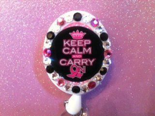 Breast Cancer, Pink Ribbon, (Keep Calm and Carry On) Id Holder Swarovski Crystal Embellished Badge Holder, id Holder, Retractable Reel, Free WATERPROOF clear sleeve, FREE SHIPPING WHEN 2 OR MORE ITEMS PURCHASED : Office Products