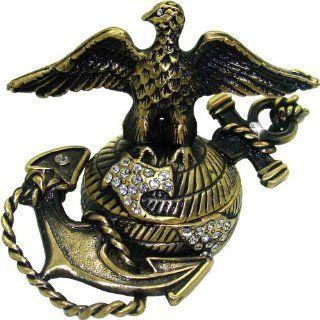 "Objet D'Art Release #384 ""The Shores Of Tripoli"" USMC Marine Corps Icon Handmade Jeweled Bronzed Metal Trinket Box   Action Figure Accessories"