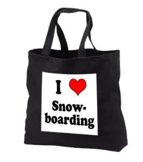 EvaDane   Funny Quotes   I love snowboarding. Heart.   Tote Bags   Black Tote Bag 14w x 14h x 3d: Clothing