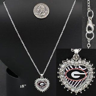 """Georgia """"BULLDOGS"""" ~ Necklace ~ """"G"""" ~ Heart with Zebra & Rhinestone Accents ~ College Licensed: Everything Else"""