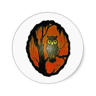 Vintage Owl cartoon Art Round Sticker