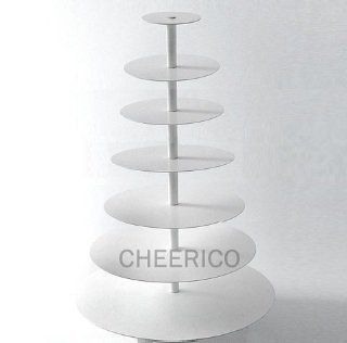 7 Tier White Round Wedding Acrylic Cupcake Stand Tree Tower Cup Cake Display Dessert Tower Kitchen & Dining