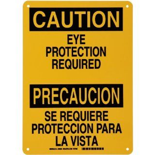 "Brady Black on Yellow Bilingual Sign, English and Spanish Language, Header ""Caution/Precaucion"", Legend ""Eye Protection Required/Se Requiere Proteccion para la Vista"": Industrial & Scientific"
