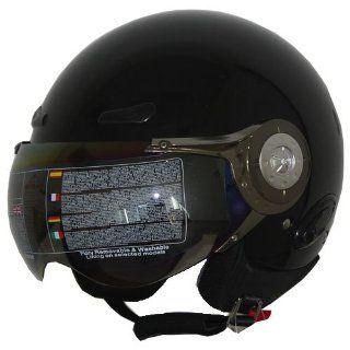 Open Face Jet Pilot Helmet Gloss Black 406 Sports & Outdoors
