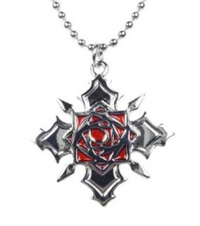 TdZ Silver Red Rose with Thorns Necklace: Clothing