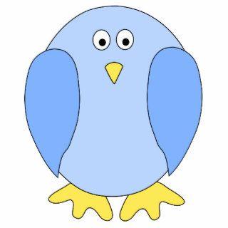 Cute Light Blue Bird Cartoon. Photo Cutouts