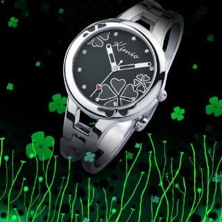 Fashion Cool Black Lady Bracelet Watch Simple Stylish Four leaf Clover Surface Design High quality alloy strap Japanese Movement Pointer Display WK425L: Watches