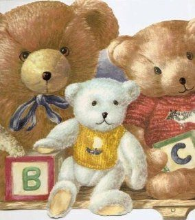 Wallpaper Border Teddy Bears Stuffed Animals ABC Blocks on Shelf Blue Red Yellow: Home Improvement